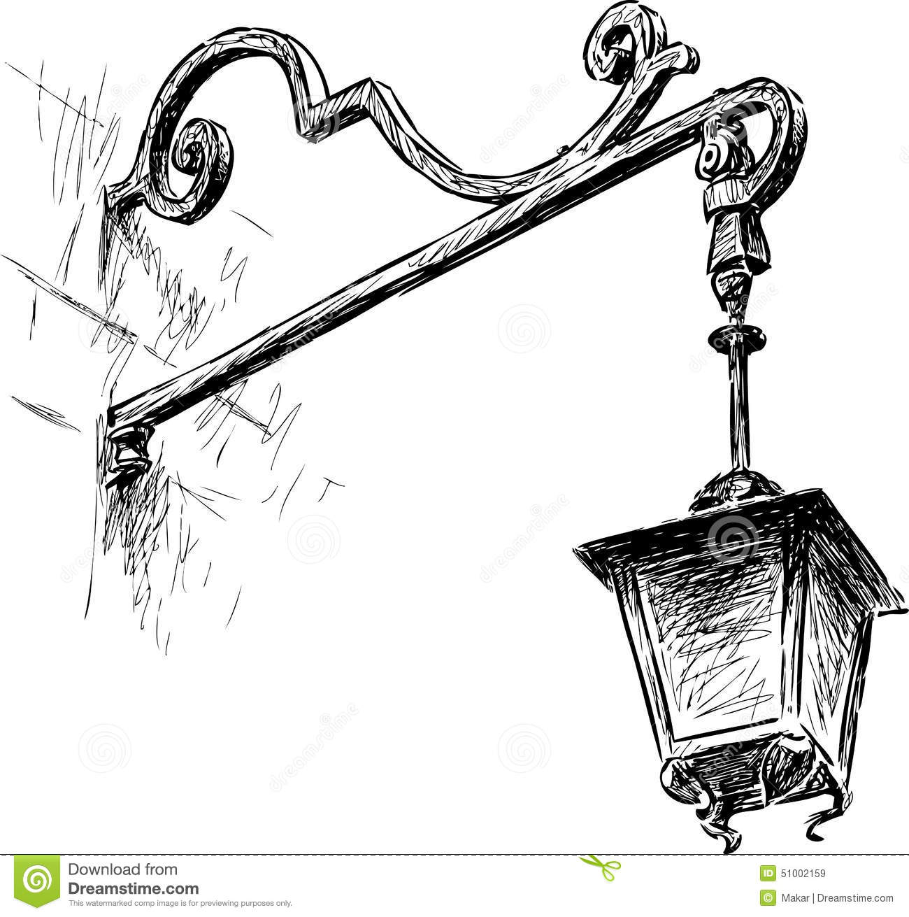 Old Street Light Stock Vector Image 51002159