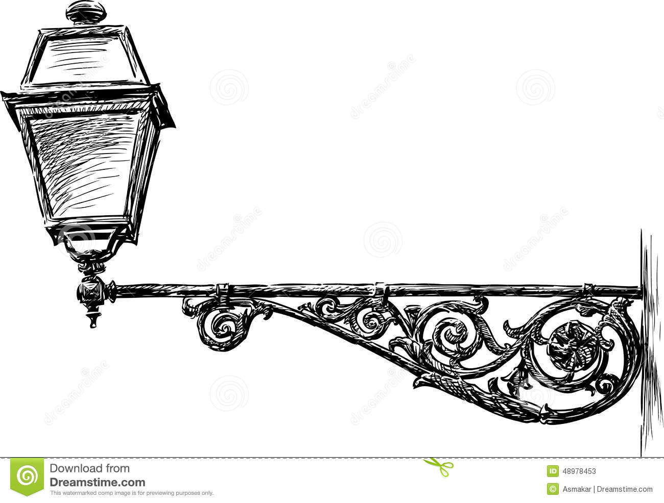 Old Street Light Stock Vector Illustration Of Ornate