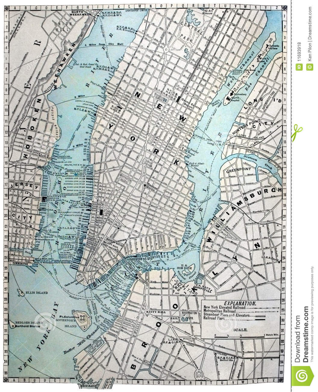 Free Map Of New York City.Old Street Map Of New York City Stock Photo Image Of Urban