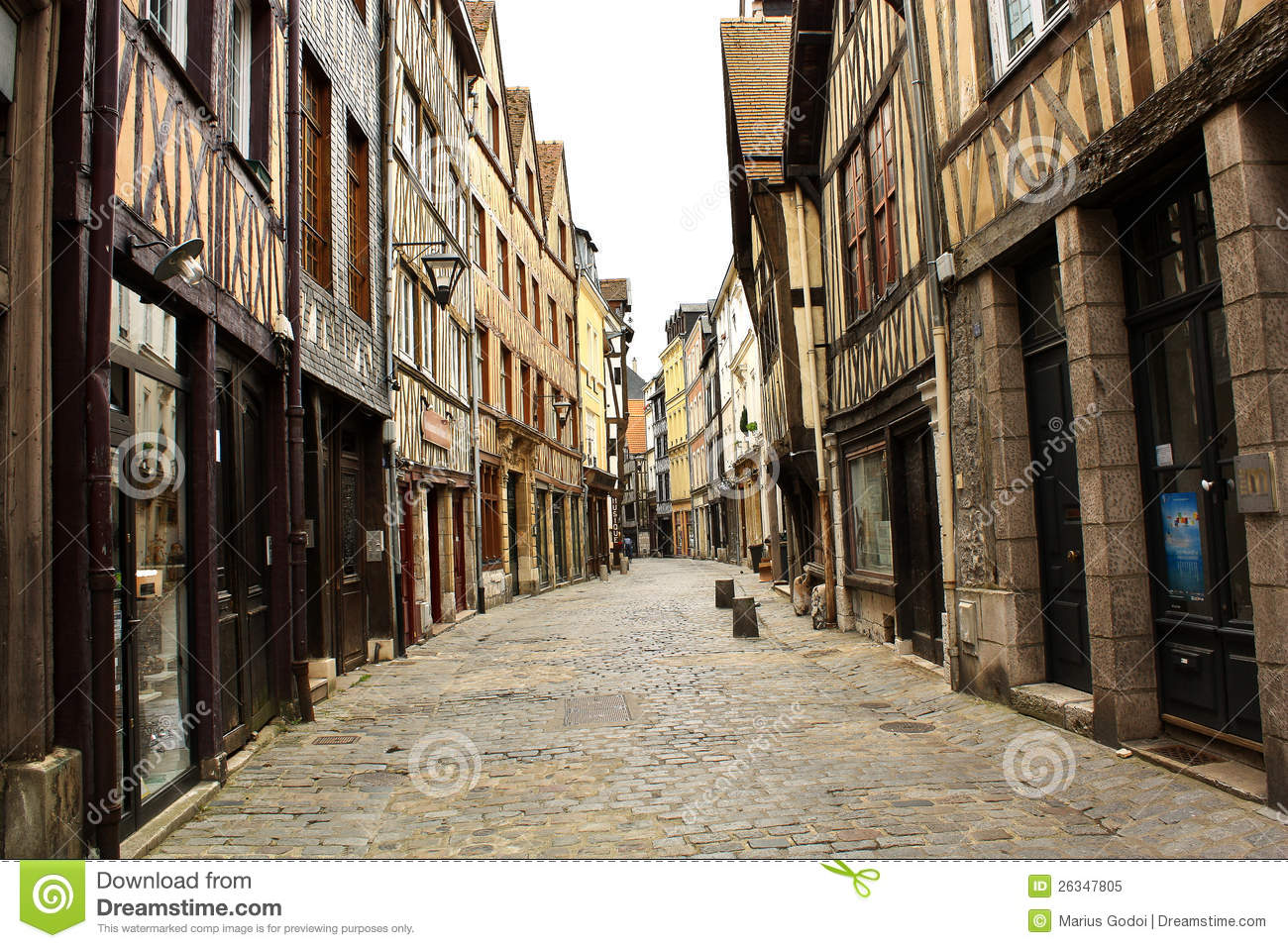 old street in the rouen royalty free stock photo image 26347805. Black Bedroom Furniture Sets. Home Design Ideas