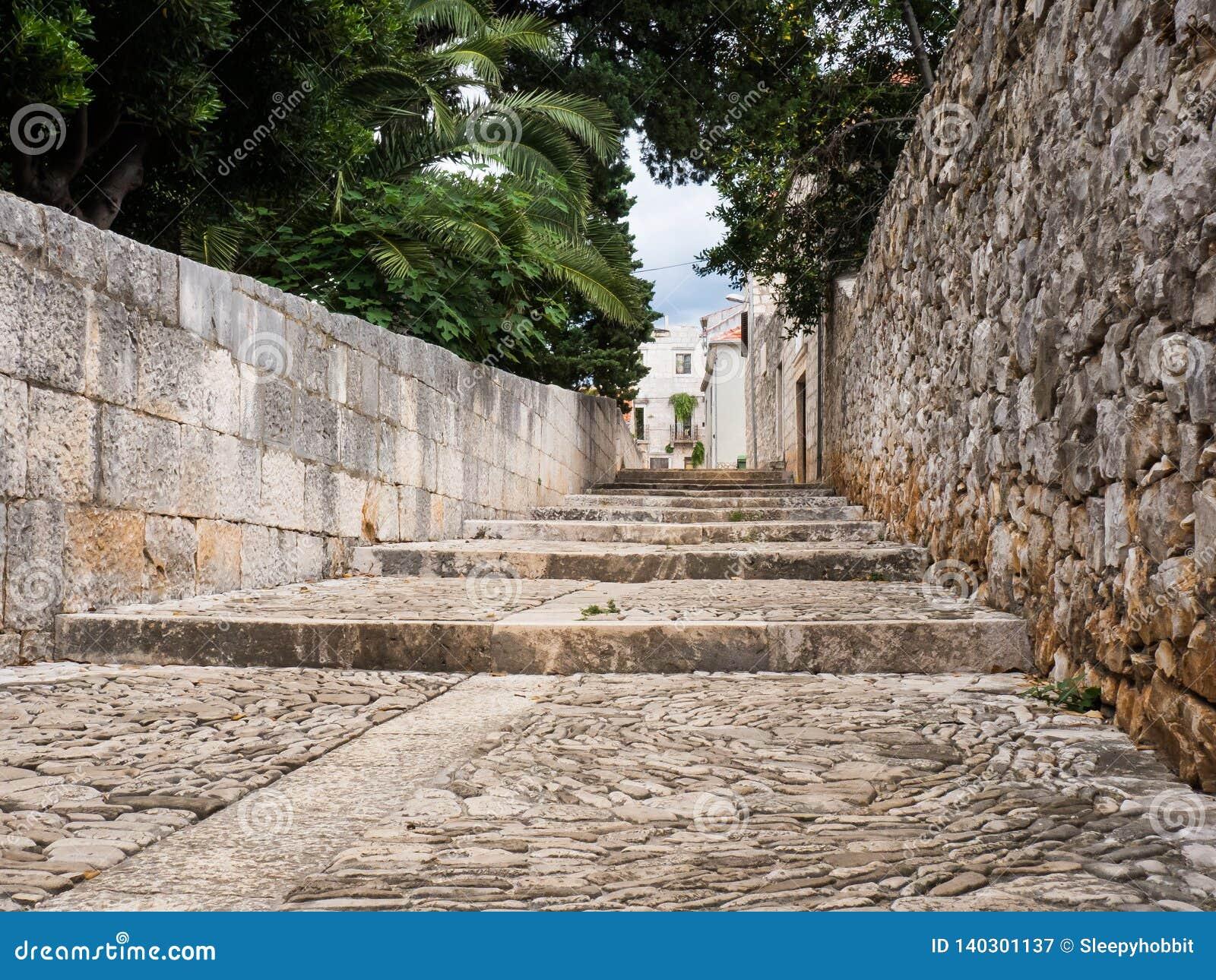 Old street in Sucuraj, Hvar island, Croatia with stairs