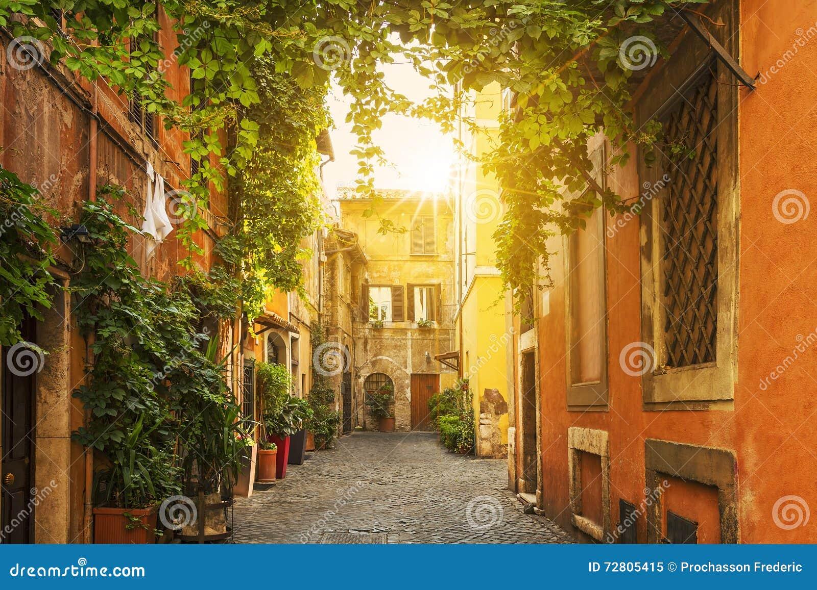 Download Old Street In Trastevere In Rome Stock Image - Image of city, italian: 72805415
