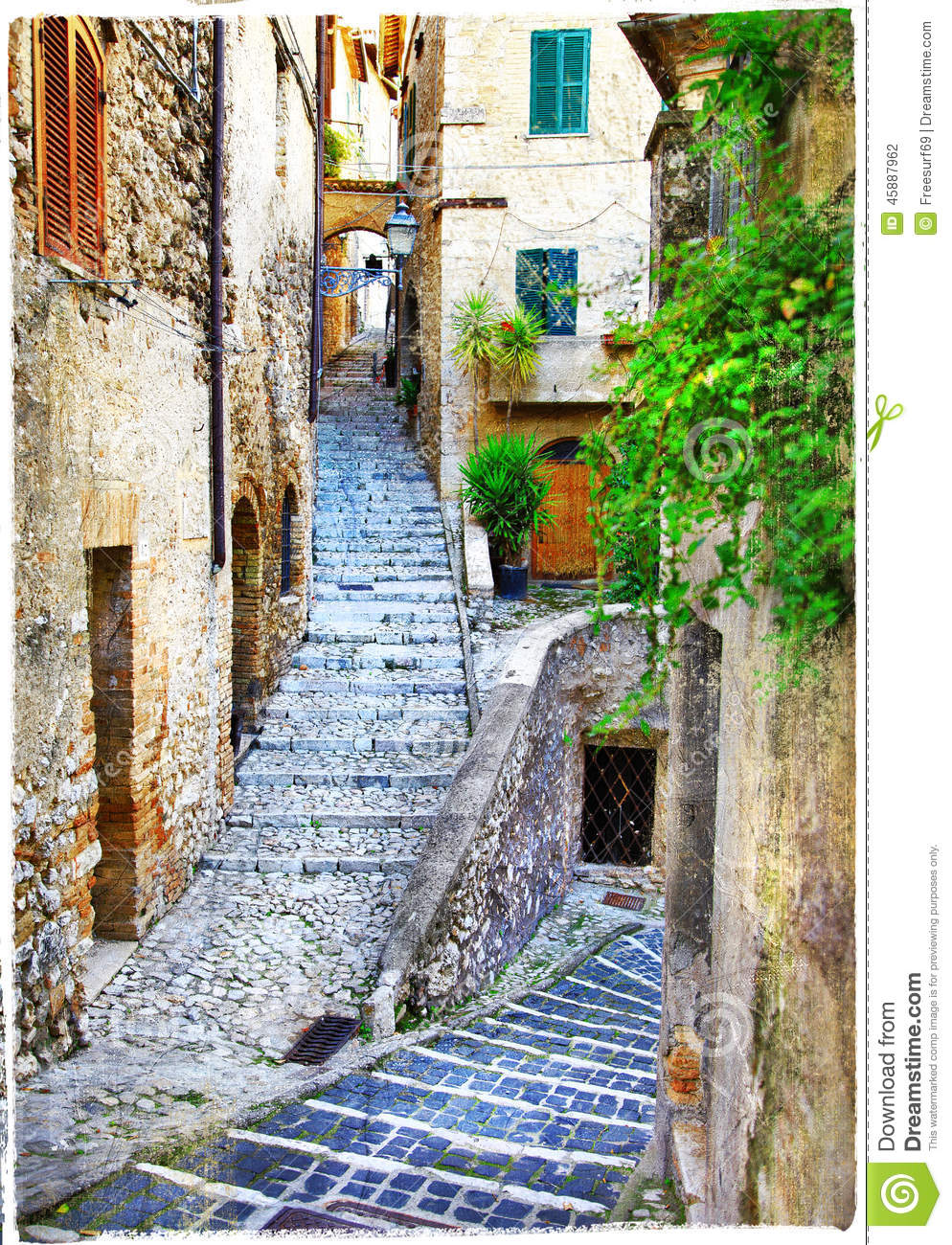 Stock Photo Charming Streets Medieval Towns Spello Italy Old Artistic Vintage Picture Image45886914 additionally Modern Mediterranean Garden Ideas likewise Mediterranean Modern House Designs together with Italian House Plans With Pool as well Mediterranean Homes With Pools. on italian house plans with courtyard