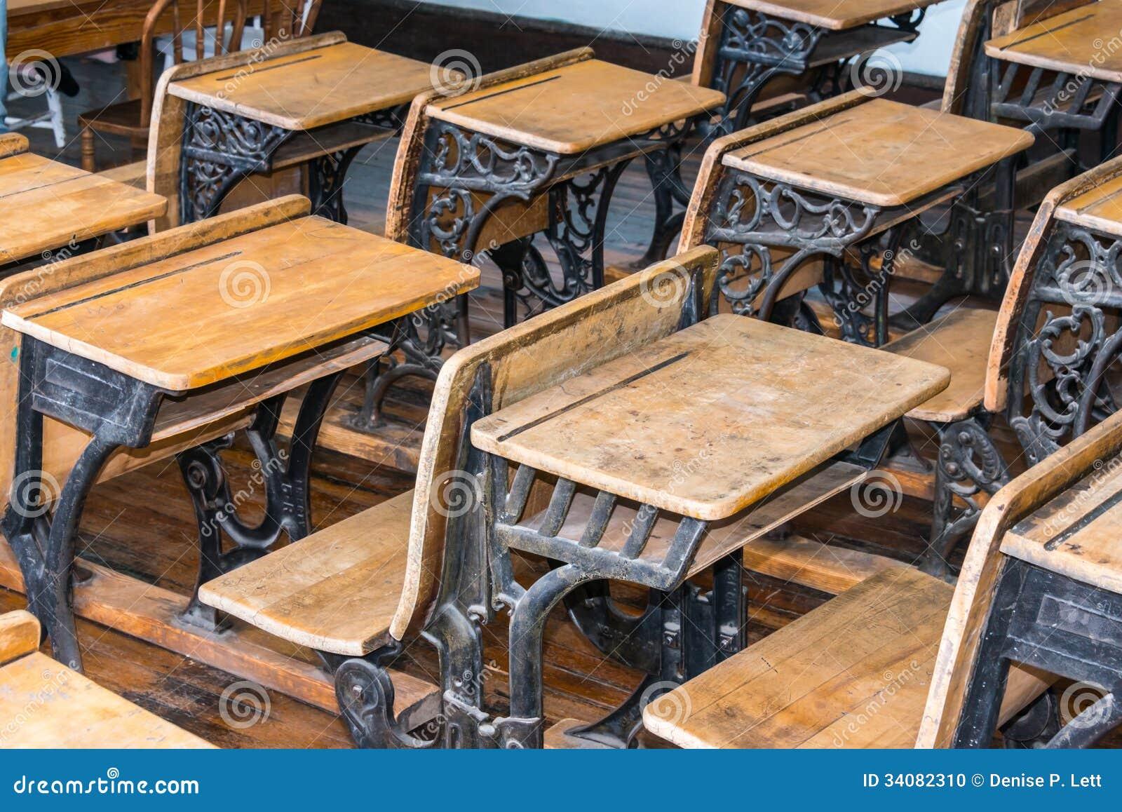 old student classroom desks close up rows antique focus desk