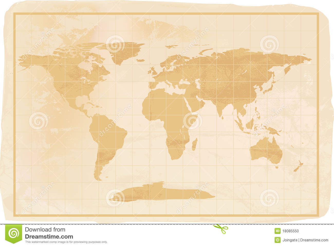 Old style world map stock illustrations 3399 old style world old style anitioque world map illustration of a yellow old vintage world map with crreases gumiabroncs Gallery