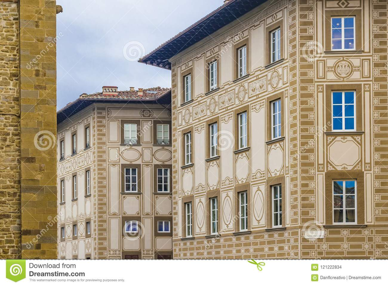 Old Style Apartment Buildings, Florence, Italy Stock Photo ...