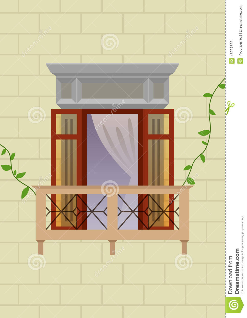 Old style balcony stock illustration illustration of for Balcony vector