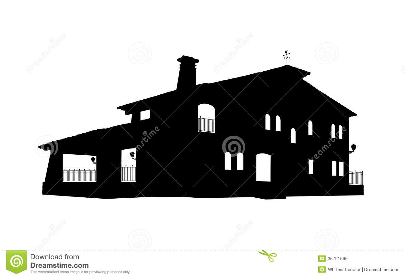 Old style big house silhouette royalty free stock image