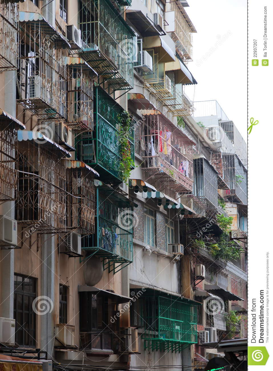old style block of apartments in macau  china  royalty