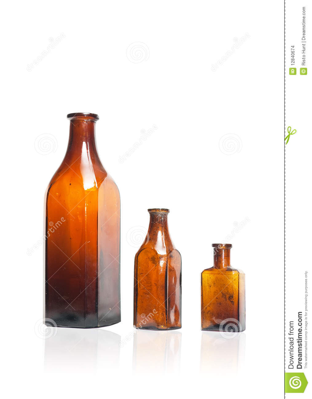 Old style bottles in row