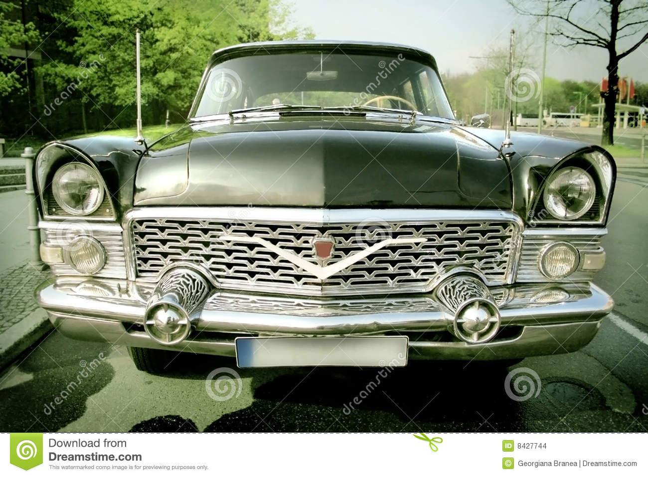Old Style Car. Front View stock photo. Image of grille - 8427744