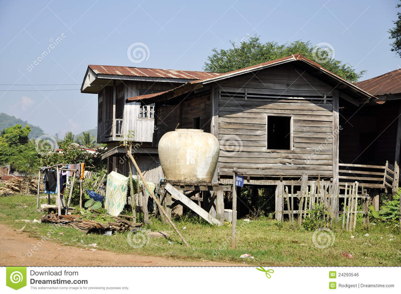 Old style country vintage house thailand retro stock photo for Thai classic house 2