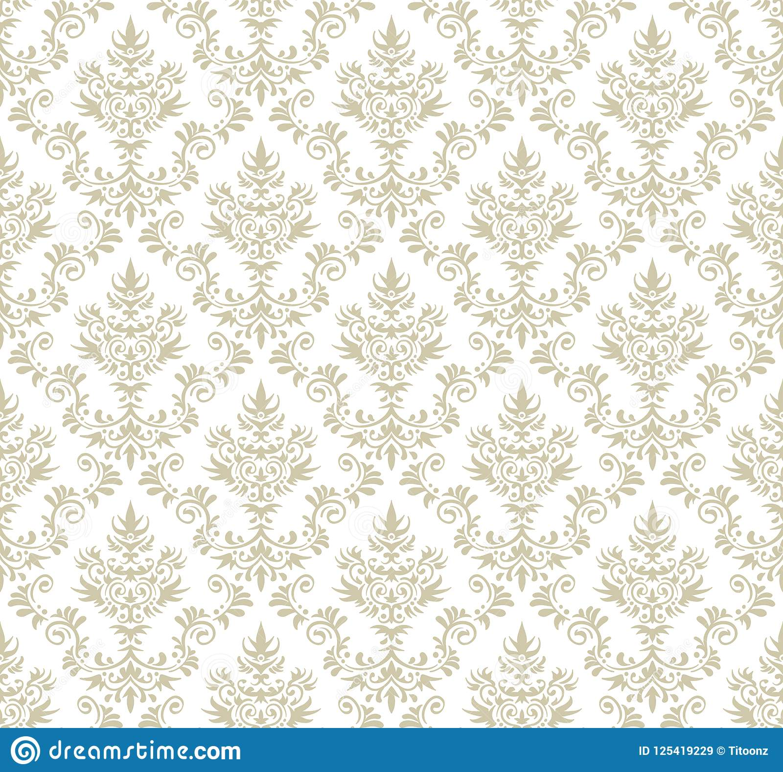 Seamless Floral Damask Pattern Stock Vector Illustration Of