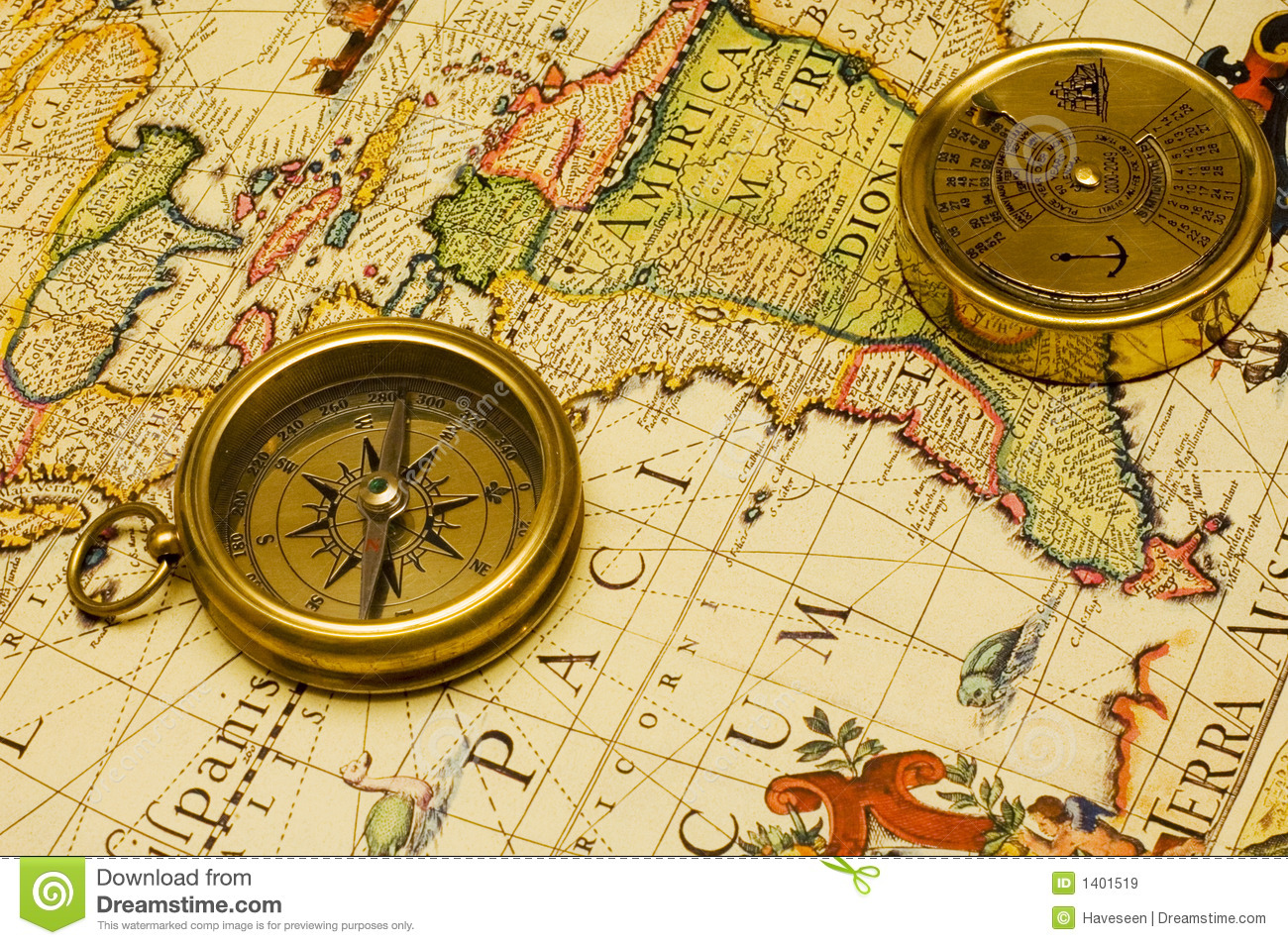 Old style gold compass calendar on a map stock image image of download comp gumiabroncs Choice Image