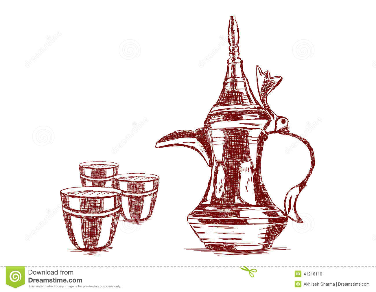 Old Style Hand Drawn Arabic Coffee Pot Vector Stock