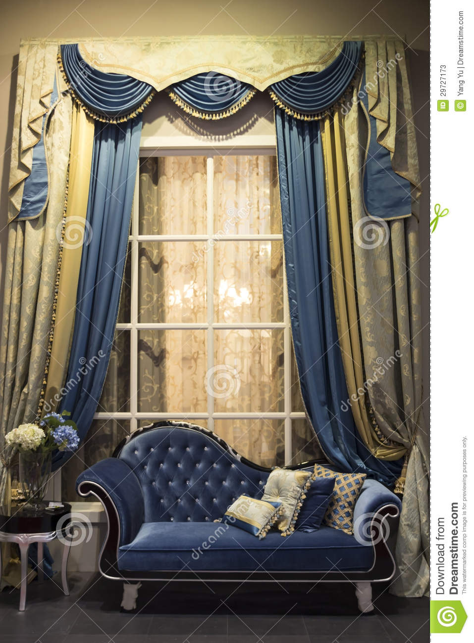 Interior With Sofa And Curtains Stock Photos Image