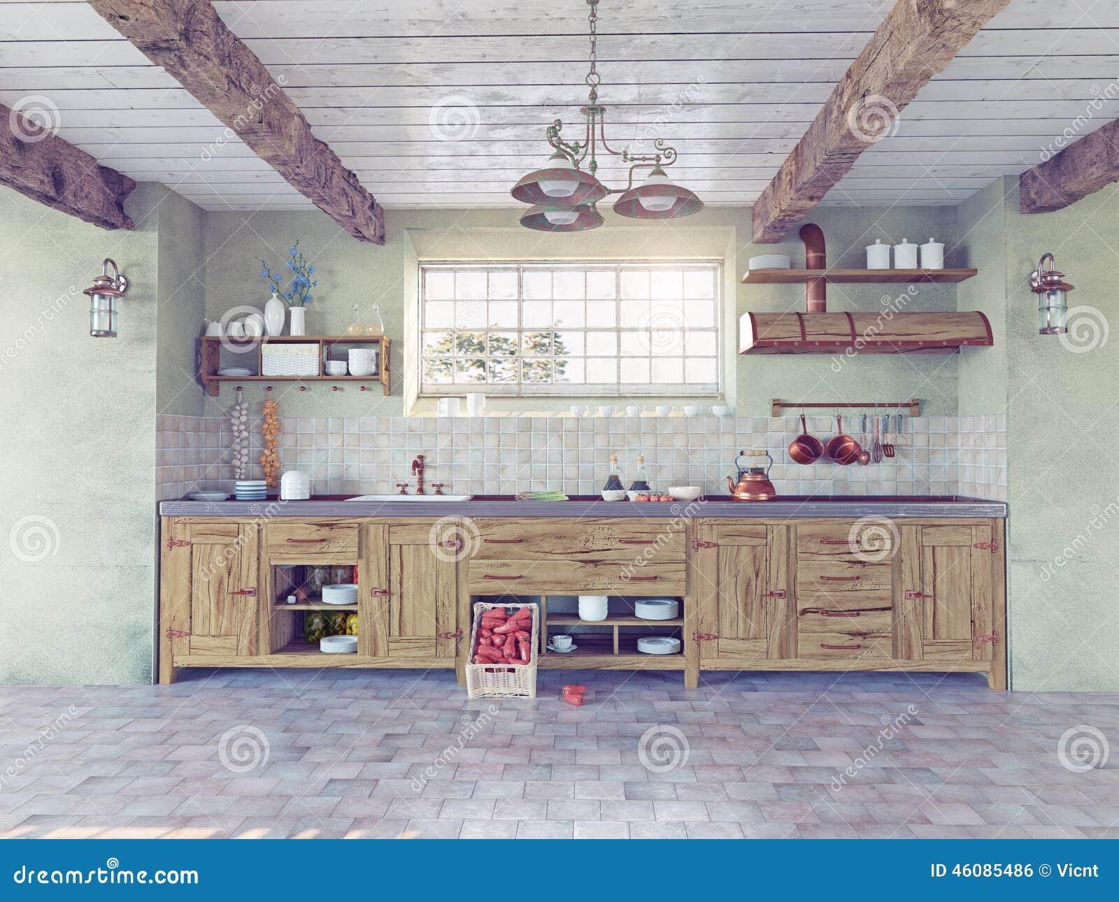 old-style kitchen interior stock illustration - image: 46085486