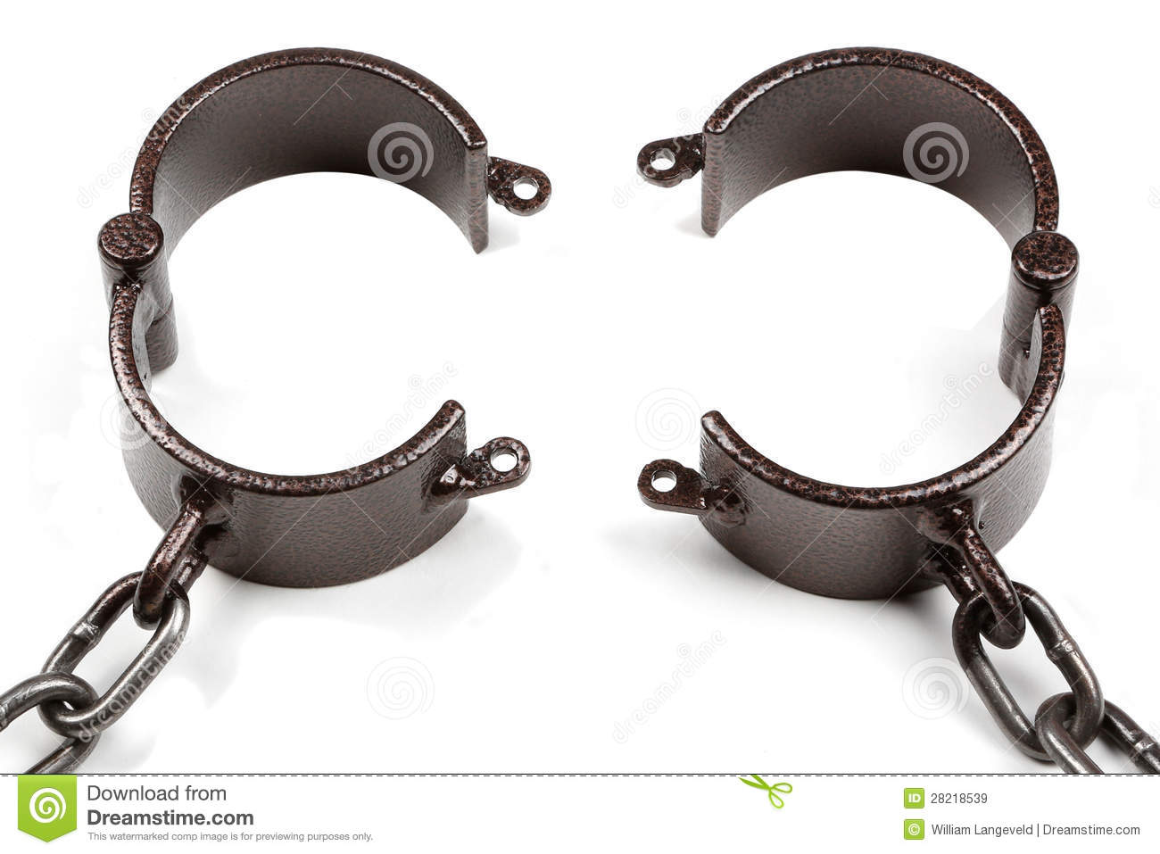 Old Style Medieval Handcuffs Made Of Heavy Iron Stock