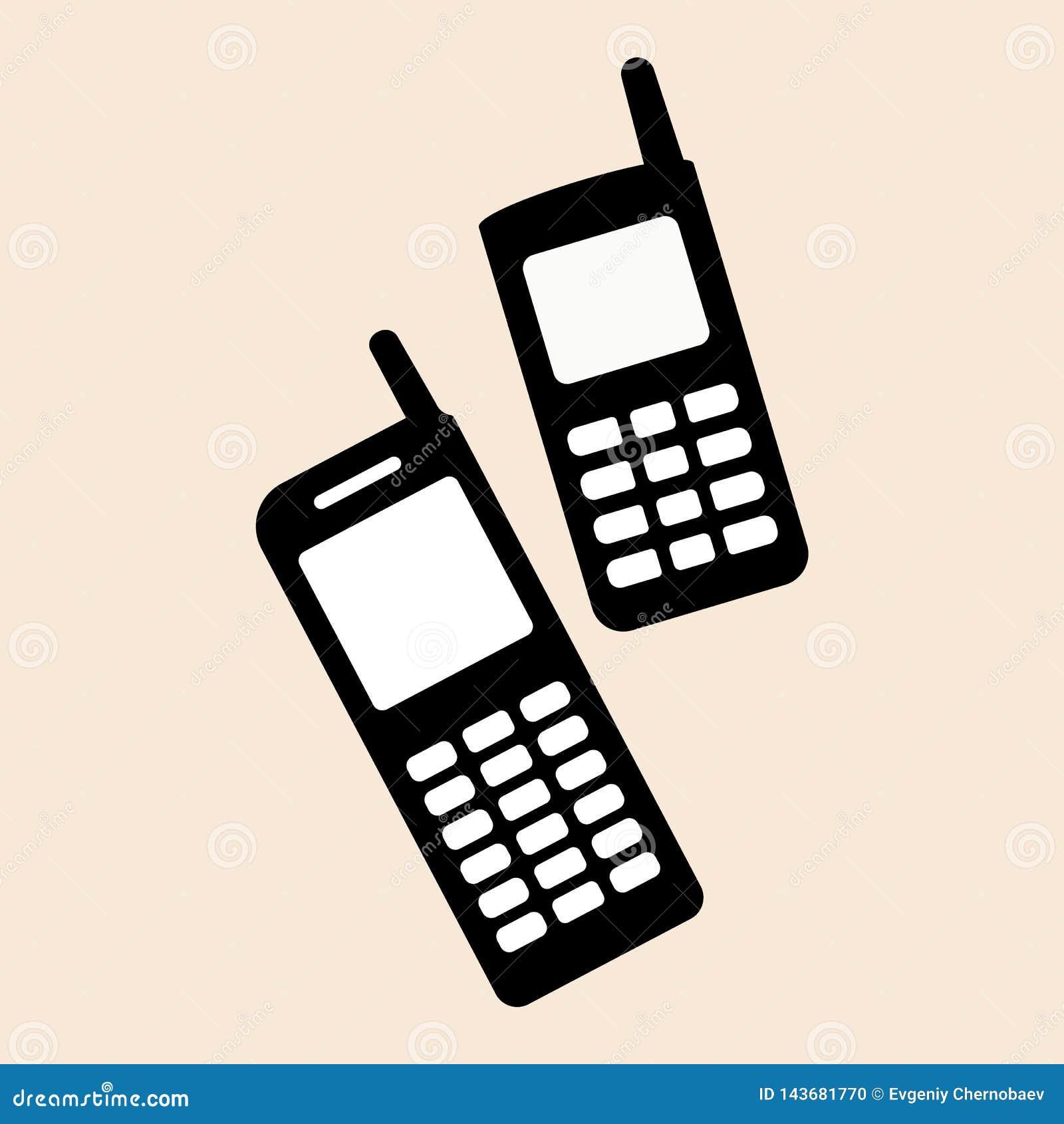 Old style nokia two mobile phones set Mobile phone nokia support icon vector eps10. Old mobile phone retro icon.