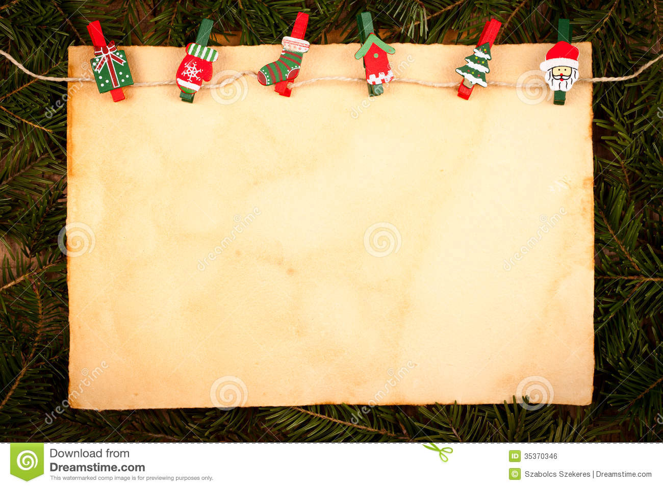 Old Style Paper With Christmas Ornaments Royalty Free Stock Image ...