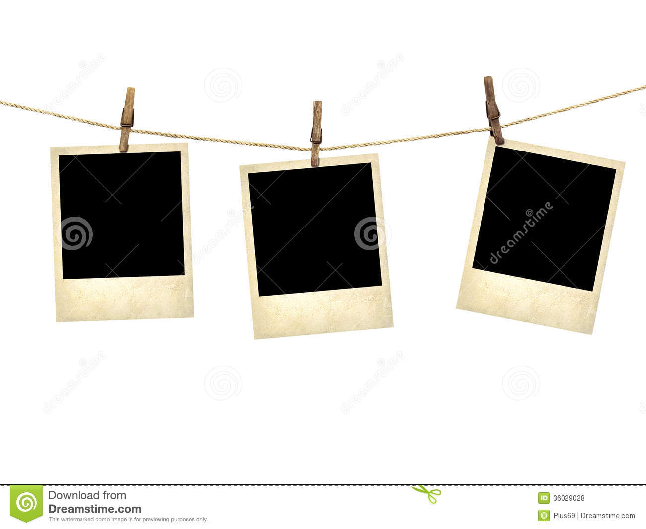 old style photographs hanging on a clothesline stock photo