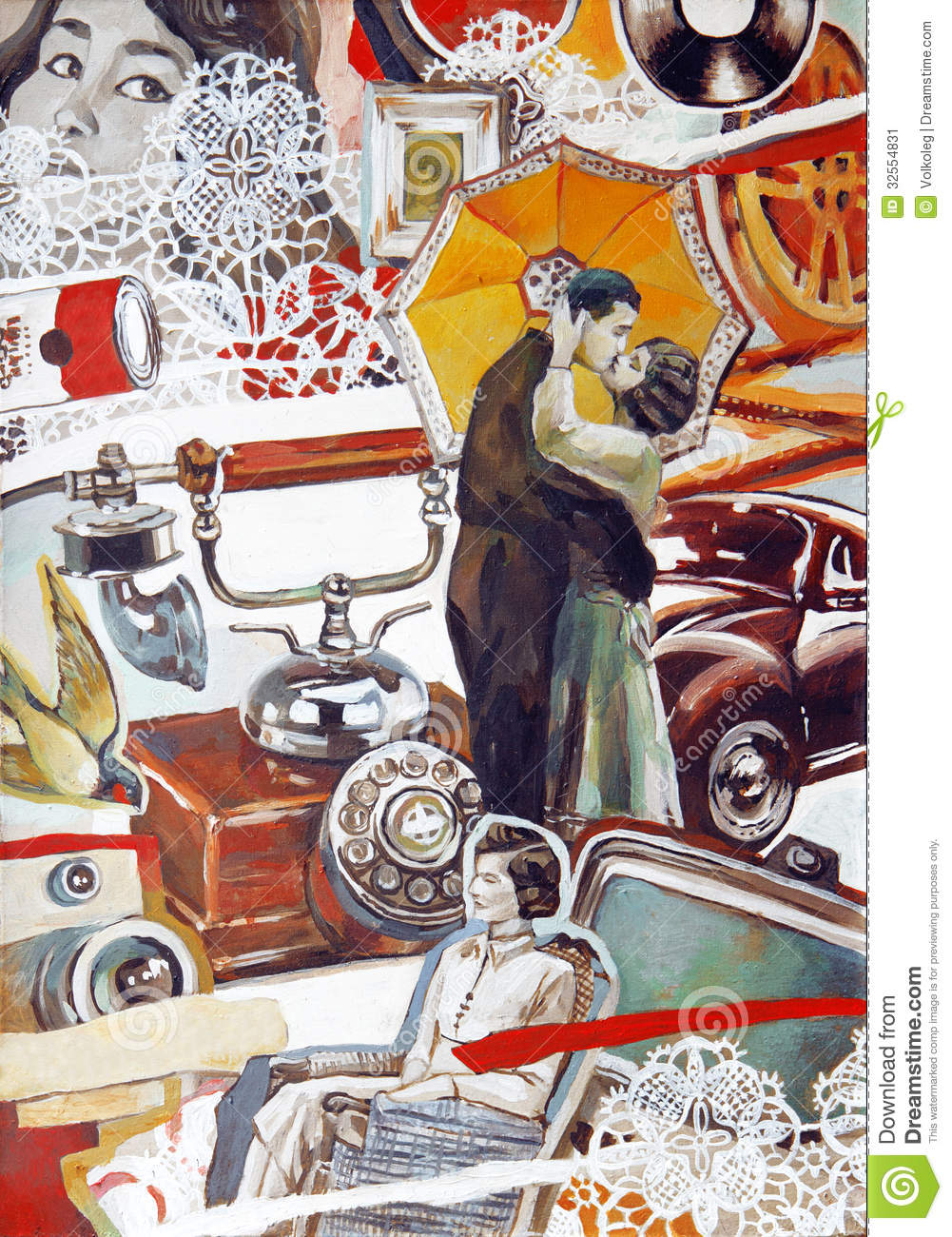 Oldstyle Retro Oil Collage Illustration With Young Couple