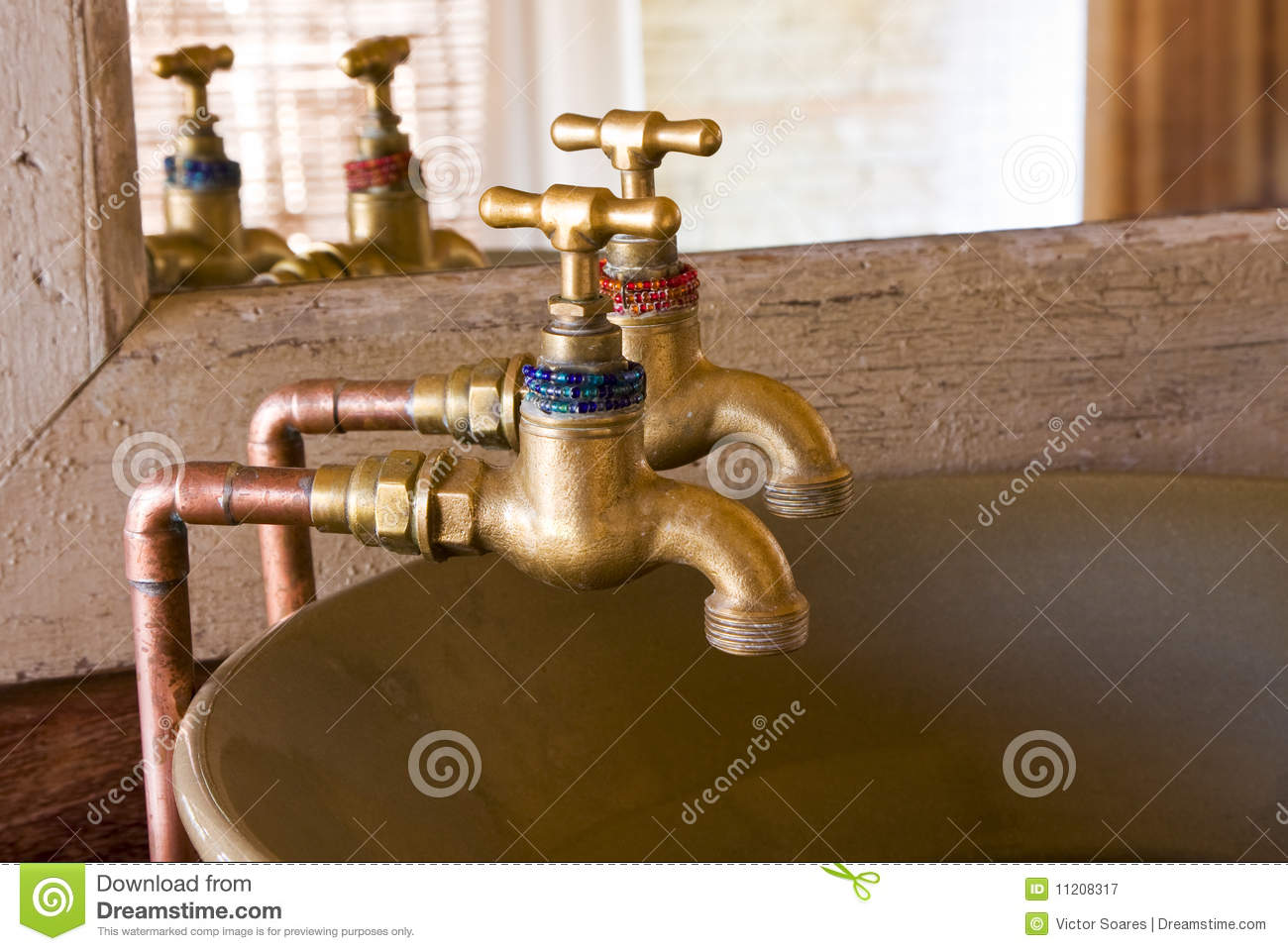 Old style taps stock image. Image of mirror, metal, antique - 11208317