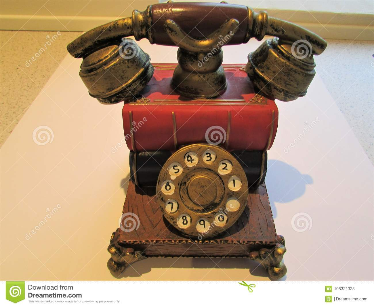Old Style Telephone On White Background, Home Object  Stock