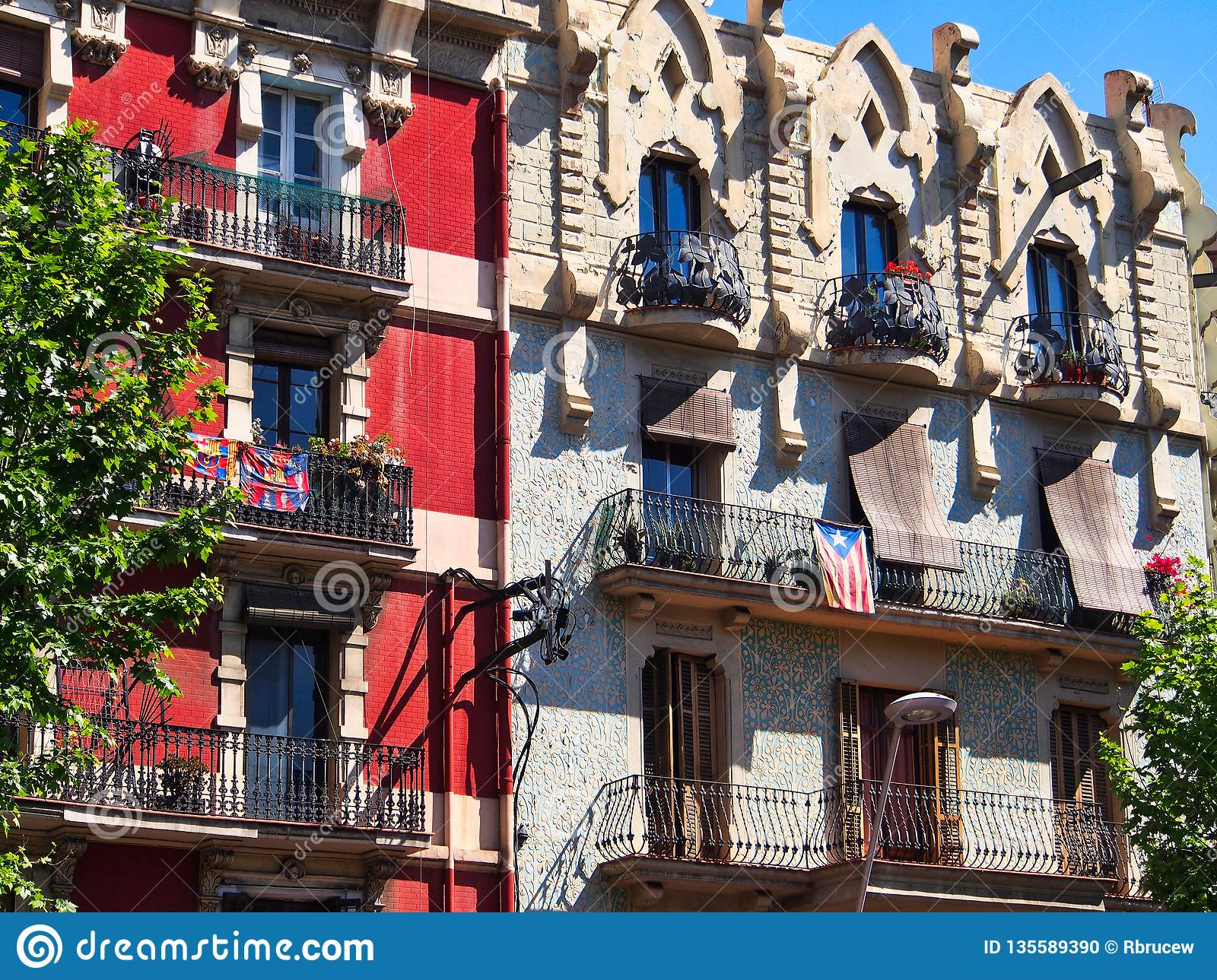 Old Style Traditional Apartment Buildings, Barcelona ...