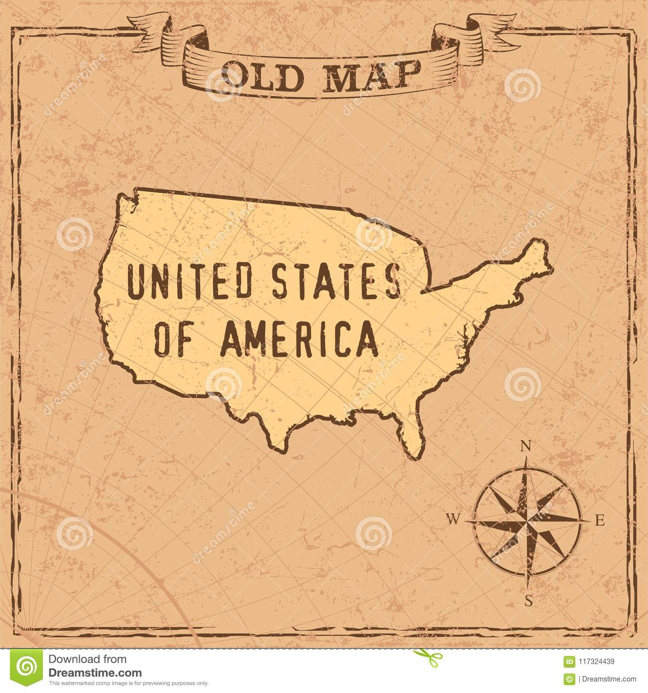 Old style USA map stock vector. Illustration of original ... on united states map poster, united states map color, united states map 1860,