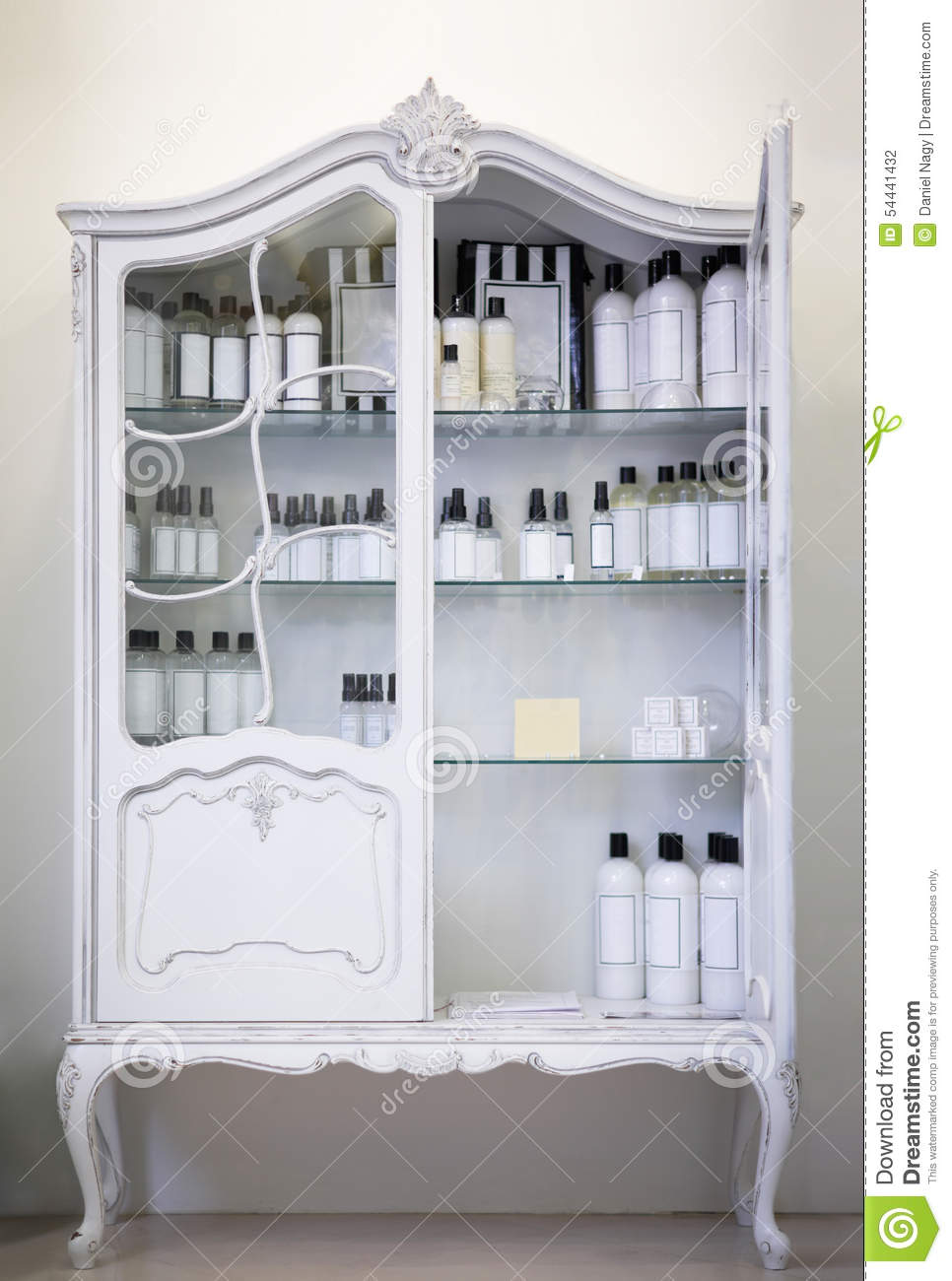 Old Style, White Baroque Cabinet With Bottles Stock Photo - Image ...