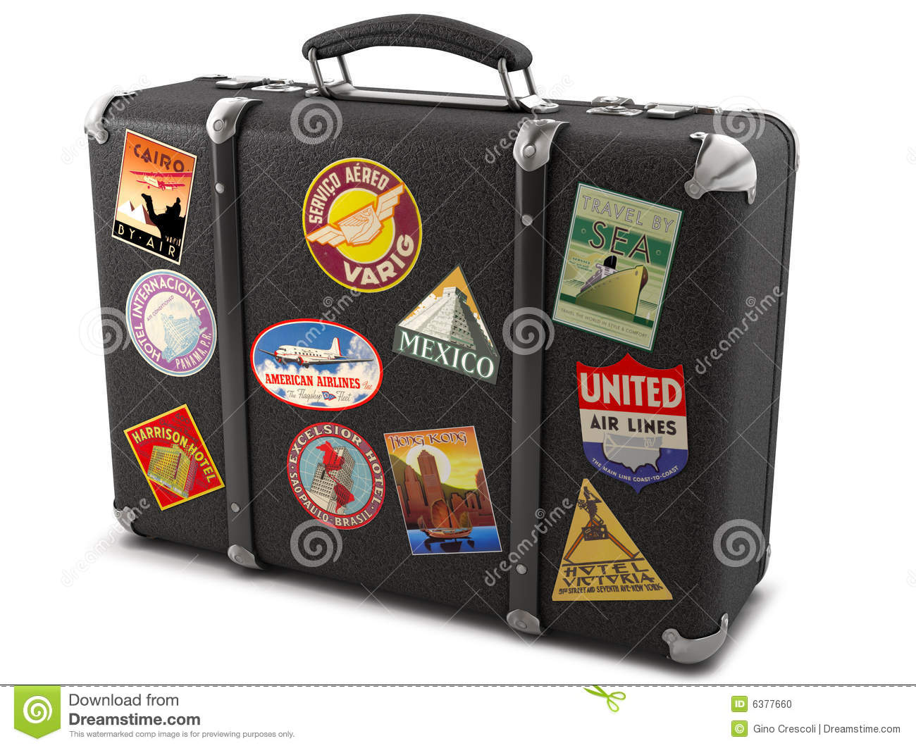 Old Suitcases Old Suitcase With Stickers Stock Photo Image 31382070