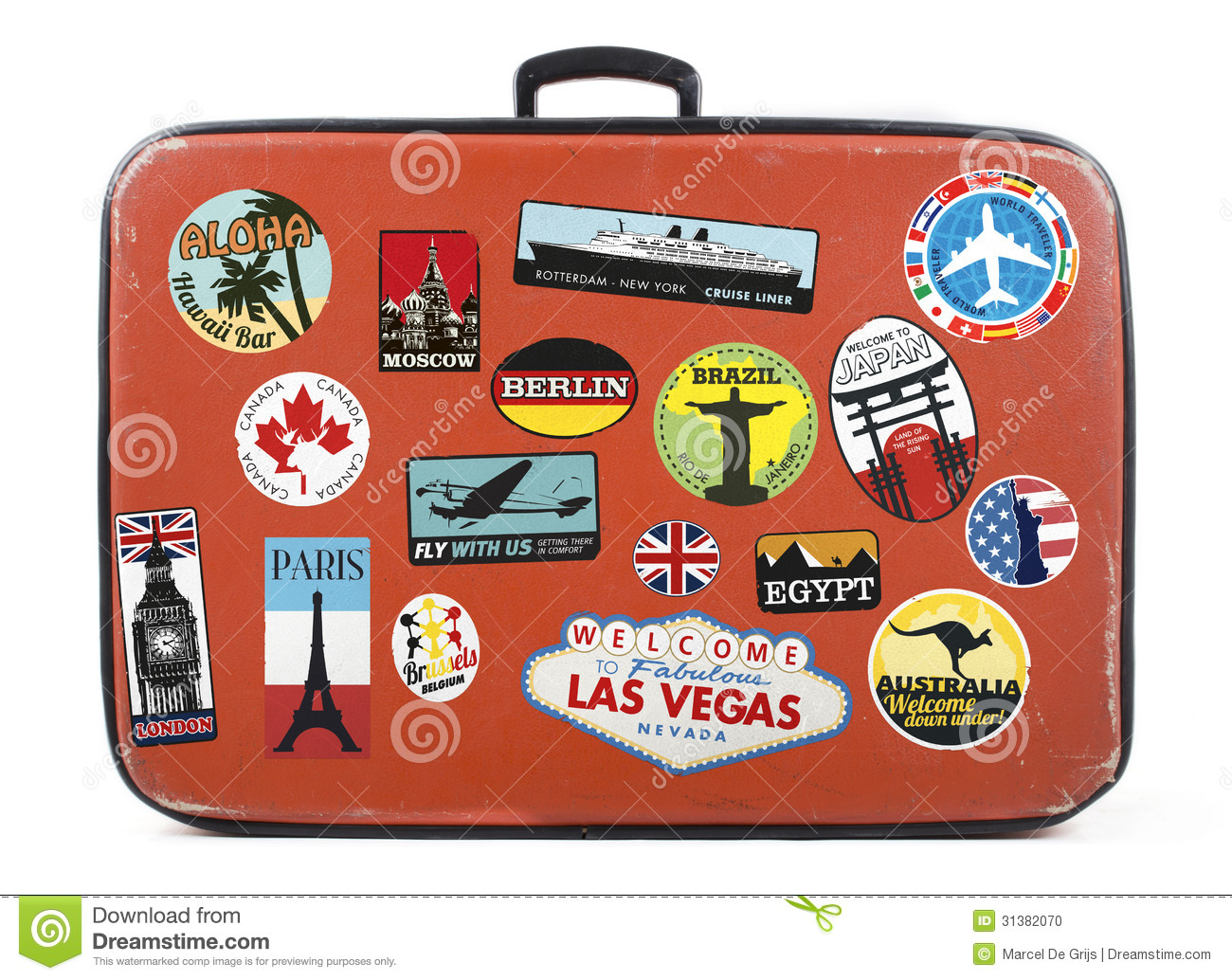 Old worn suitcase with travel stickers from around the world.