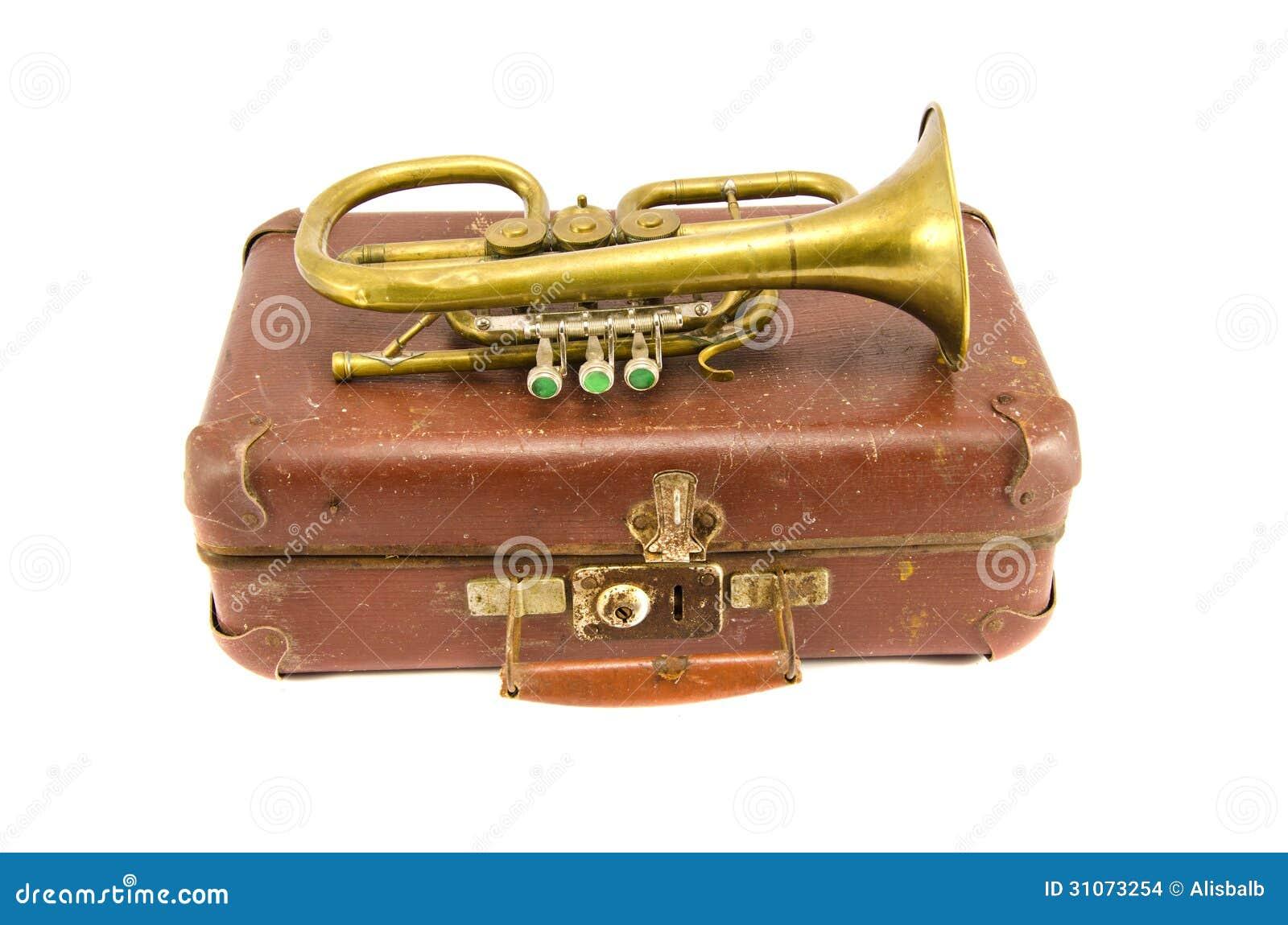 old suitcase and vintage brass musical instrument stock photo image 31073254. Black Bedroom Furniture Sets. Home Design Ideas