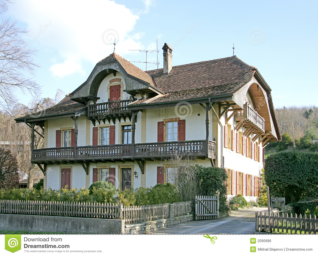 Old Swiss House 13 stock photo. Image of balcony, village