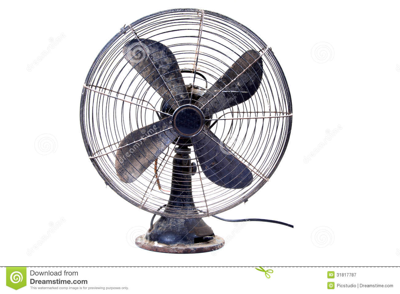 Old table fan against white  Table Fan Clipart Black And White