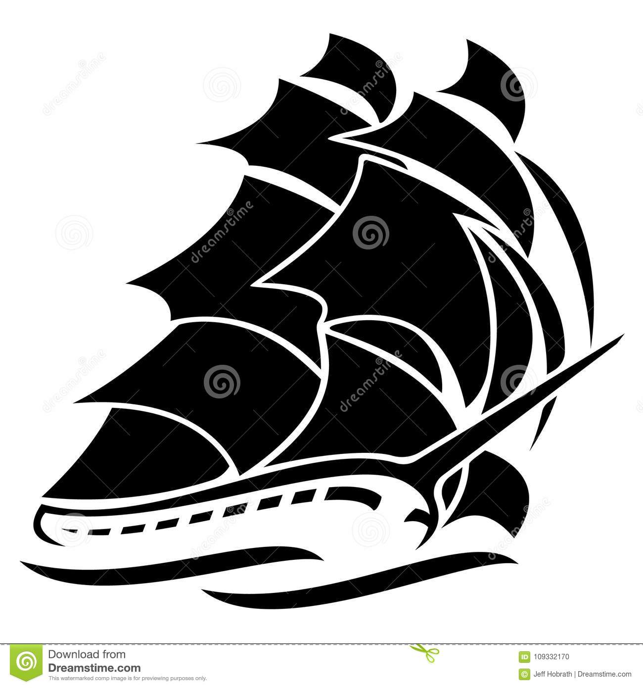Drawing Vector Lines In Photo : Old tall sailing ship vector graphic illustration stock