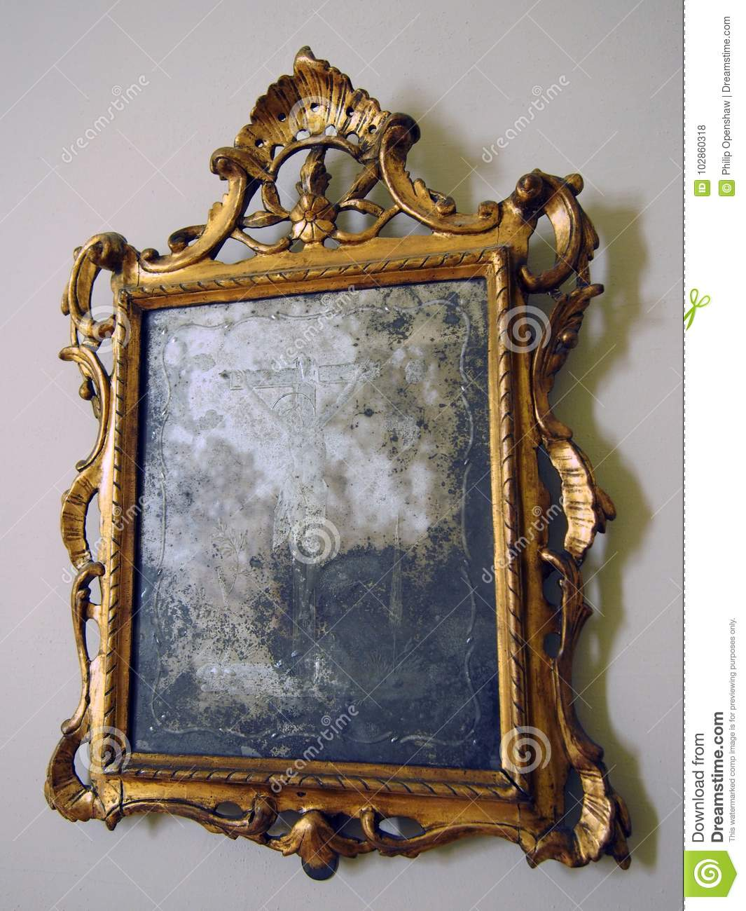 Old Tarnished Gold Framed Mirror With Ornate Baroque Details Stock Photo Image Of Mirror Frame 102860318