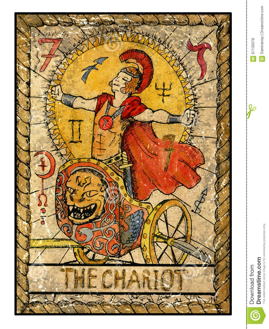 Old Tarot Cards Full Deck The Chariot Stock Illustration