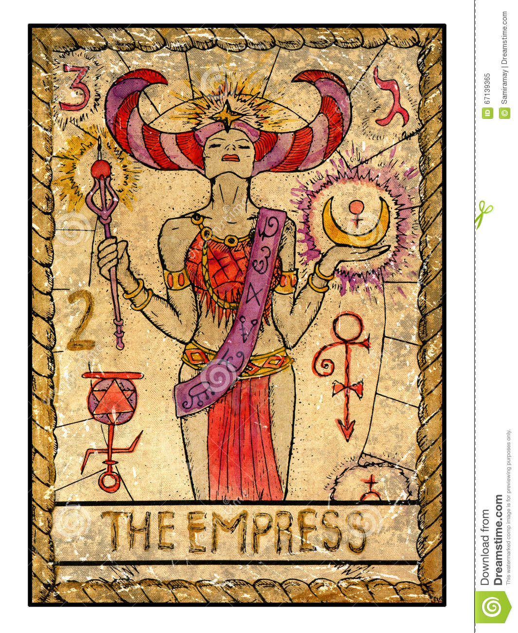 Old Tarot Cards. Full Deck. The Empress Stock Illustration