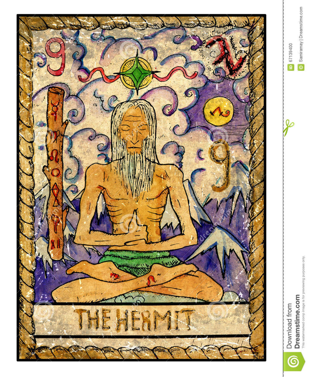 Old Tarot Cards Full Deck The Hermit Stock Illustration