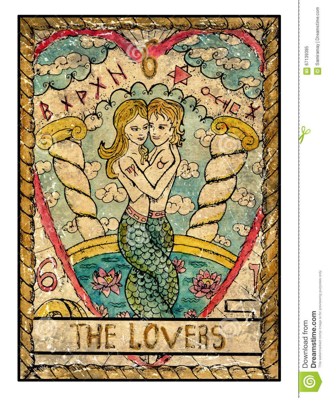 Old Tarot Cards. Full Deck. The Lovers Stock Illustration