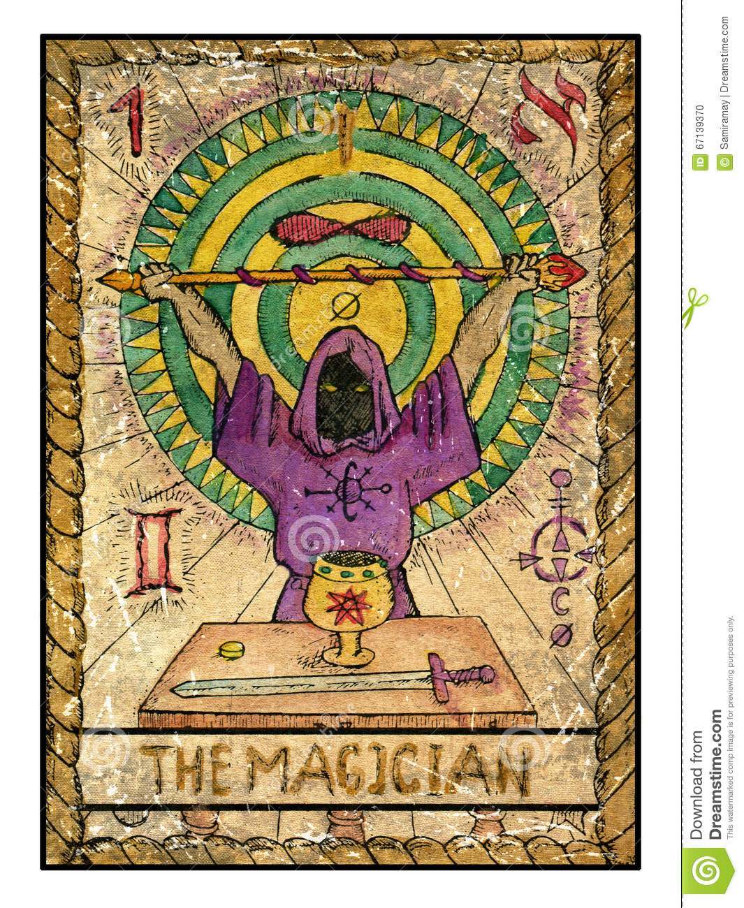 Old Tarot Cards Full Deck The Magician Stock