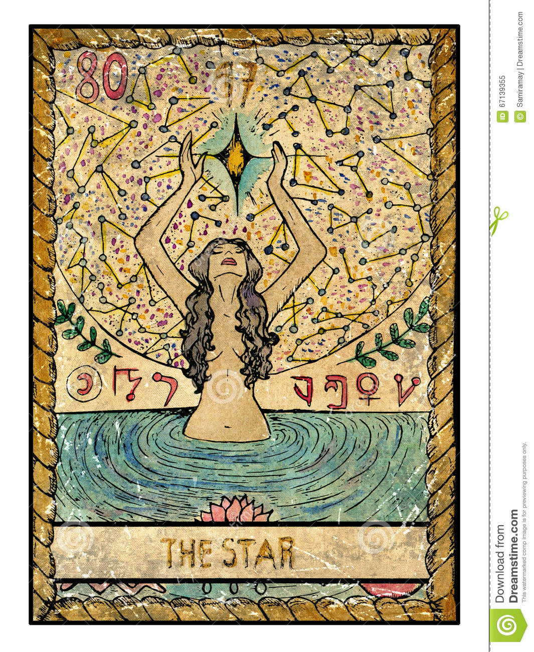 old tarot cards full deck the star stock illustration