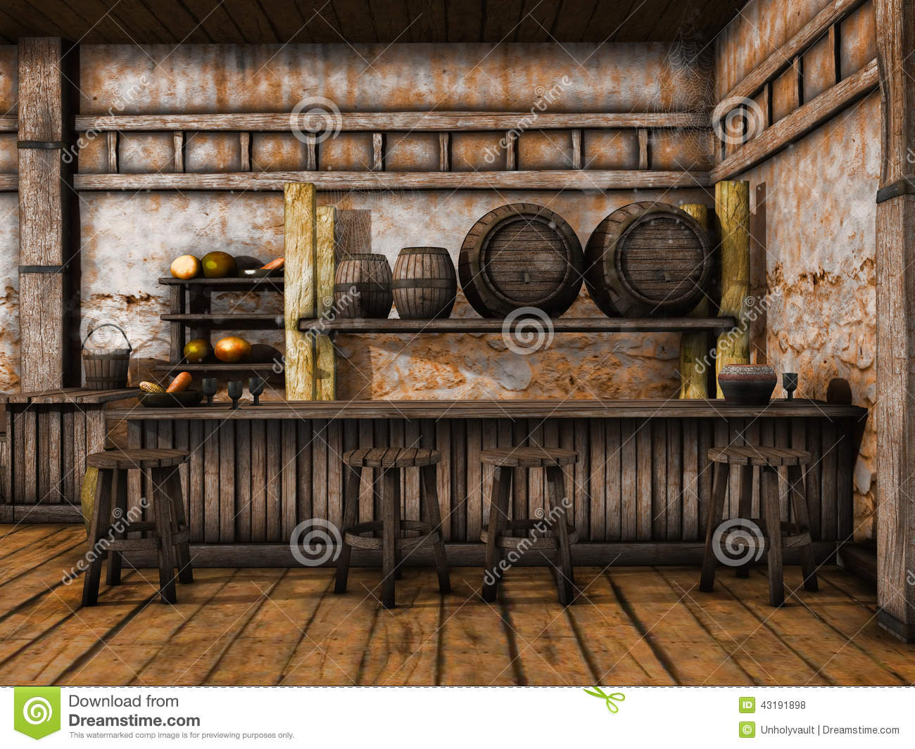 Old Tavern Counter Stock Illustration Image 43191898
