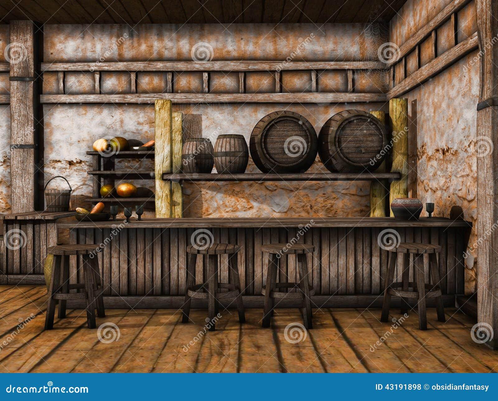 Old Tavern Counter Stock Illustration Illustration Of
