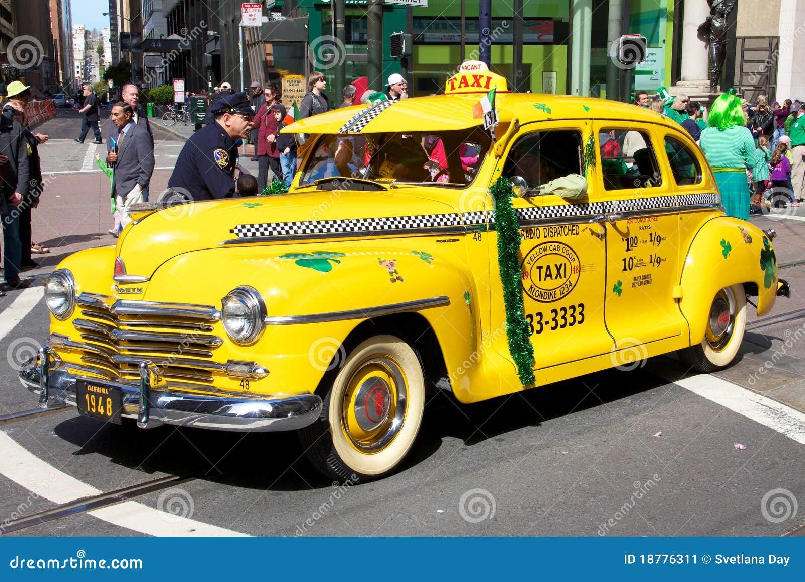 Old Taxi At San Francisco Saint Patrick's Parade Editorial