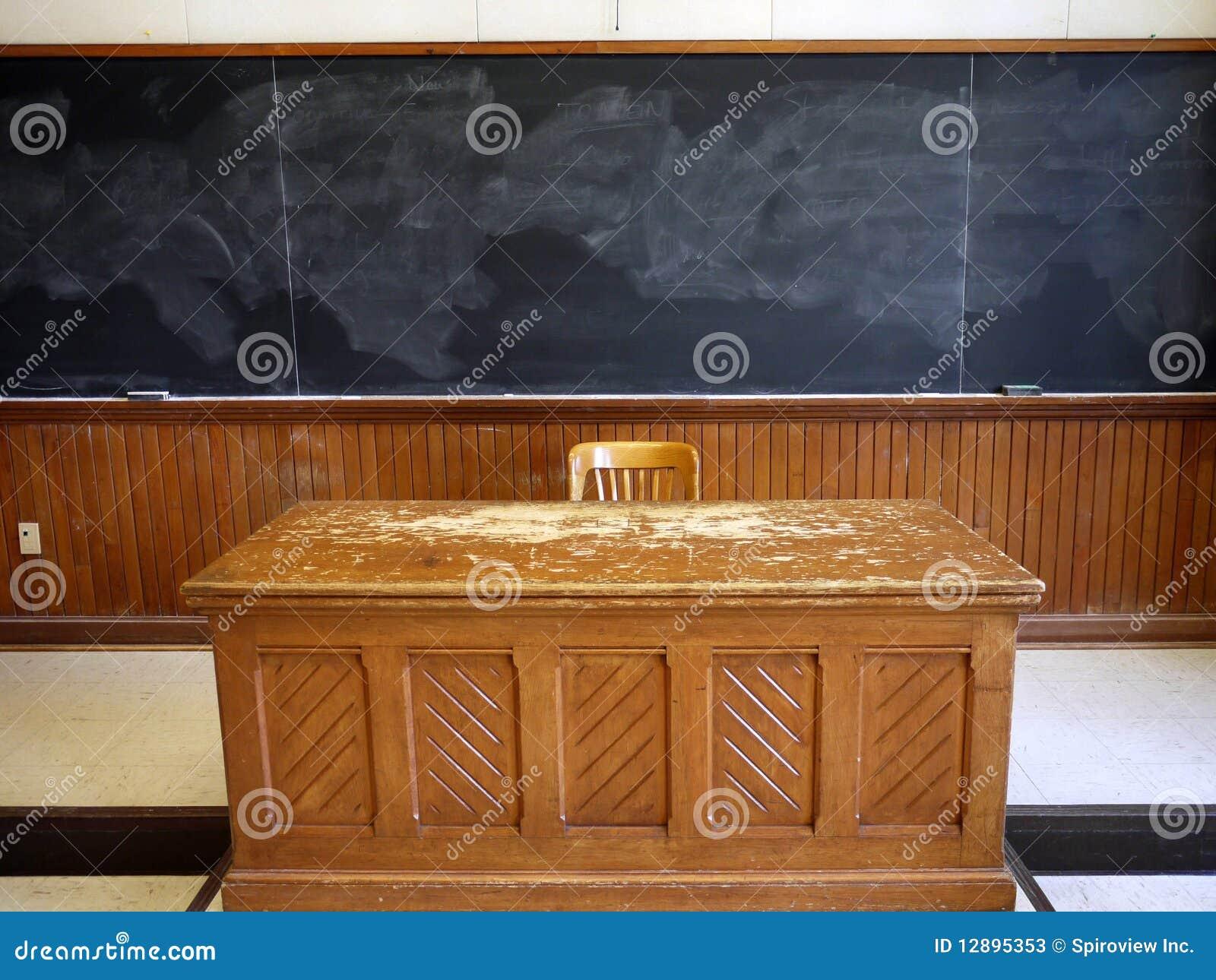 Old teacher's desk Stock Photos - Old School Chair Stock Image - Image: 28166601