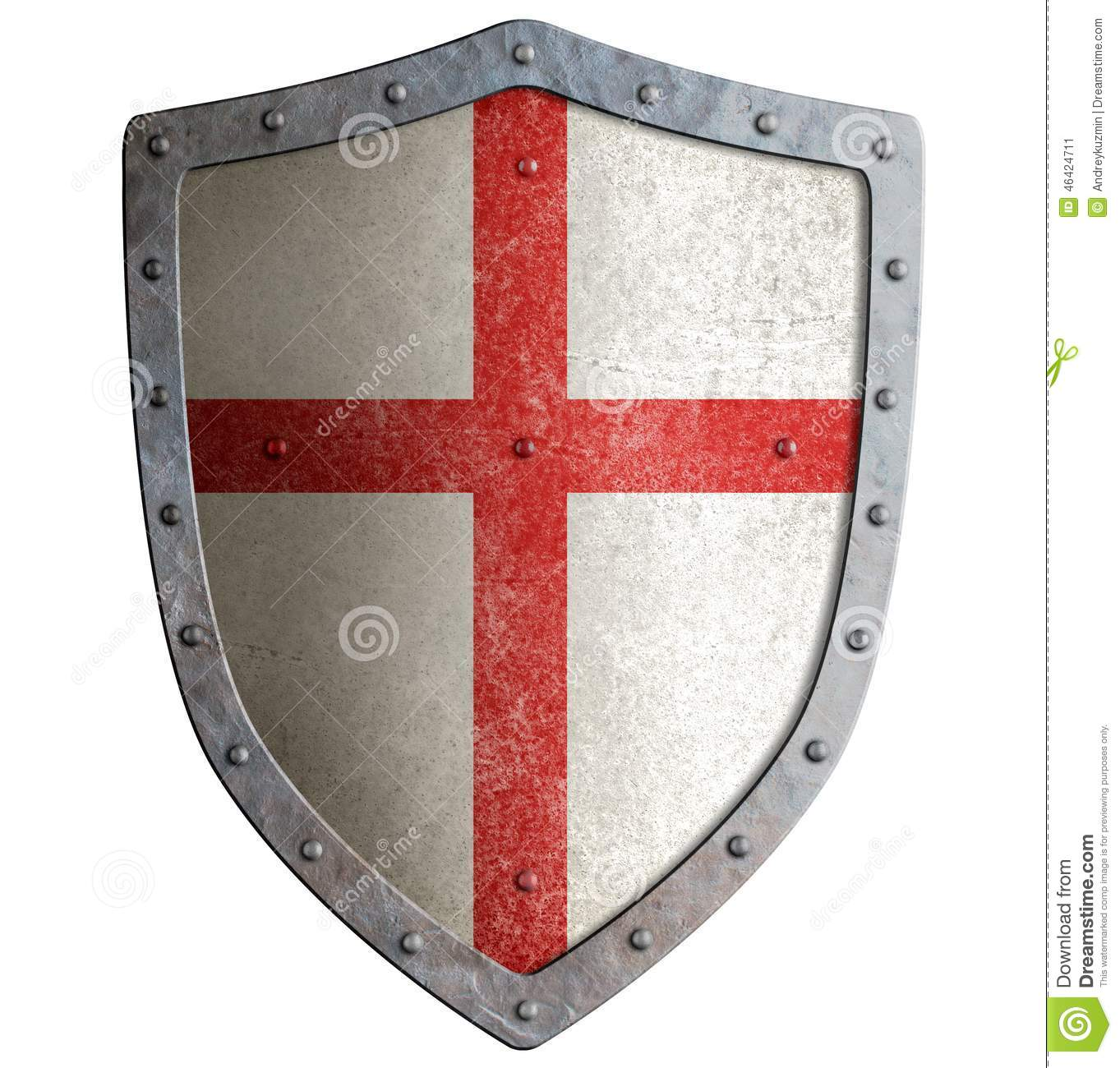 old templar or crusader metal shield isolated stock image