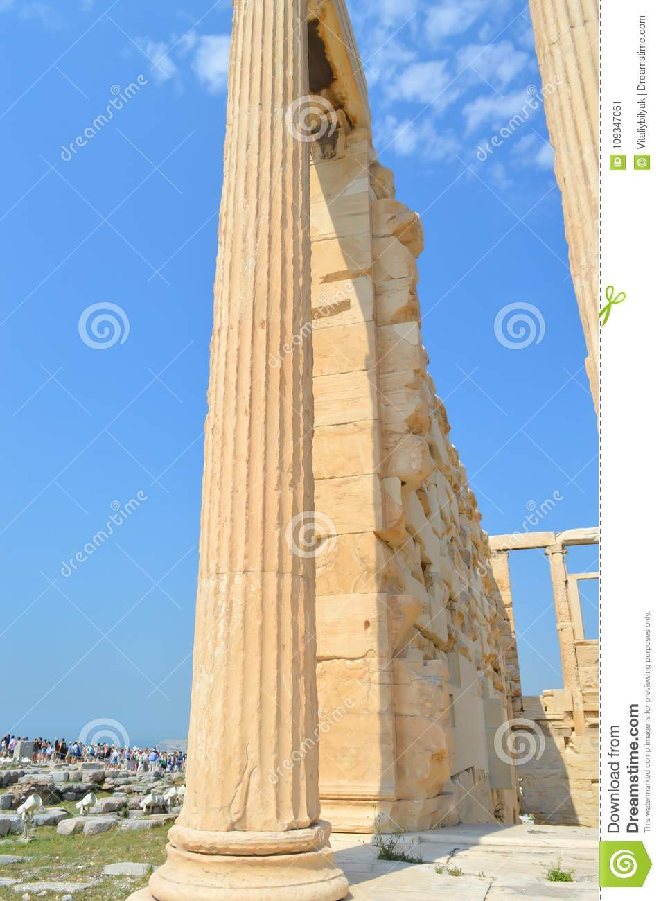Old Temple of Athena, Acropolis in Athens, Greece on June 16, 2017.